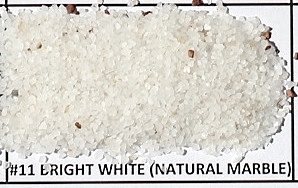 #11 White Roofing Granules, 80# Bags (pallet/35 bags) - #11 size White Roofing Granules, uncoated. Made in USA. 80# Bag, 35 Bags/ Pallet. Price/Pallet. (shipping leadtime 2-3 business days on most size orders)