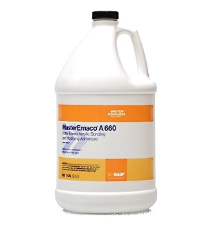 MasterEmaco A 660 Concrete Bonding / Modifying Admixture (5G) - MasterEmaco A 660 (formerly called Acryl 60) Concrete Bonding and Modifying admixture. A water-based acrylic adhesion promoter, bonding and modifying admixture for concrete products. 5-Gallon Pail. Price/Pail. (1g size shown in photo)