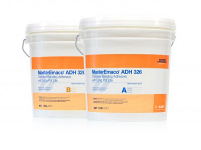 MasterEmaco ADH 326 Liquid Epoxy Bonding Adhesive, 1-Gal Kit - MasterEmaco ADH 326, Liquid Epoxy Concrete Bonding Adhesive with long pot life (formerly Concresive Liquid LPL). Two-component 100% solids liquid epoxy bonding adhesive. 1 Gallon Unitized Kit (parts A+B). Price/Kit. (shipping leadtime 1-2 business days)