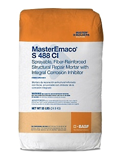 MasterEmaco S 488CI, Sprayable Fiber-Reinforced Repair Mortar, NSF 61 (55lb) - BASF MasterEmaco S 488CI (formerly EMACO S88 CI), Sprayable, Fiber-Reinforced, Repair Mortar, NSF 61 Potable Water Certified. 55-lb Bag. Price/Bag. (see ordering notes in detail view)
