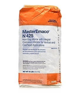 MasterEmaco N 425 Non-sag Concrete Repair Mortar, 43 lb. - MasterEmaco N 425 Non-sag Concrete Repair Mortar. With Integral Corrosion Inhibitor. For Vertical and Overhead Applications. 43-Lb. Bag. Price/Bag. (see special shipping notes in detail view)