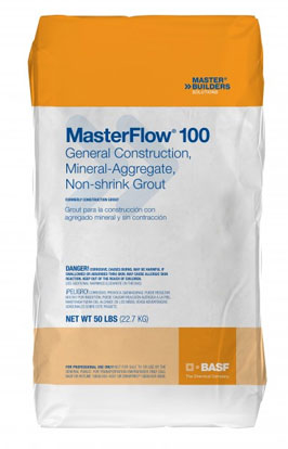 MasterFlow 100 Grout, Multiple Purpose Construction, 50 lb. - BASF MasterFlow® 100 Grout (formerly BASF Construction Grout), a non-catalyzed, multi-purpose construction grout. 50-Lb./Bag. Price/Bag. (aka BASF #51669264)