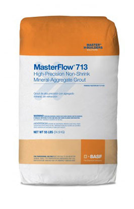 MasterFlow 713 Cement-based Grout w/ Mineral Aggregates, 55LB, 60 bags - MasterFlow® 713 Grout, cement-based grout with special grade mineral aggregates. For precision equipment, base plates, soleplates and column grouting. 1-component ready to mix/use. 55-Lb./Bags. 60 Bags/Pallet. Price/Pallet. (ship time 2-5 days)