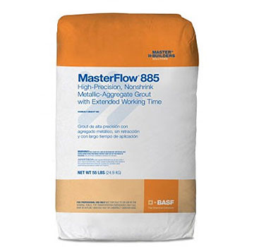 MasterFlow 885 Cement-based Metallic Aggregate Grout, 55LB, 60 bags - MasterFlow 885 Grout, cement-based metallic aggregate grout with extended working time. Suited for grouting machines or plates requiring optimum toughness. 55-Lb./Bag. 60 Bags/Pallet. Price/Pallet. (aka BASF 51670854; ship leadtime 2-5 days)