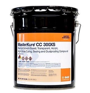 MasterKure CC 300XS, Hi-Gloss Concrete Sealant (5G) - MasterKure CC 300XS (formerly Kure-N-Seal 300EX), High-Gloss Concrete Sealant & Curing Agent. Exempt-solvent-based complies with VOC. 5-Gallon. Price/Pail. (shipping leadtime 2-4 weeks for less than 5 pail orders)