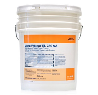 MasterProtect EL 750AA, Neutral Tint Base Paint, 5G - MasterProtect EL 750AA, Neutral Tint Base Paint. Algae Resistant, Water-based, high-build, Elastomeric, acrylic waterproof coating. For above-grade concrete, masonry, stucco and EIFS. 5-Gallon Pail. Price/Pail. (leadtime 2-4 weeks for less than 5 pails)