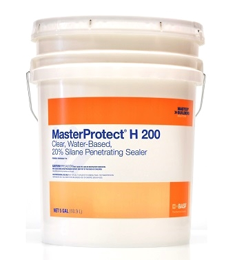MasterProtect H 200 Concrete/Masonry Silane Sealer, 54G - MasterProtect H 200 (formerly Enviroseal® 20), clear, water-based, 20% silane  penetrating sealer / water repellant. For stucco, concrete, brick and masonry. 54 Gallon Drum. Price/Drum. (in stock; special sale; quantity limited)