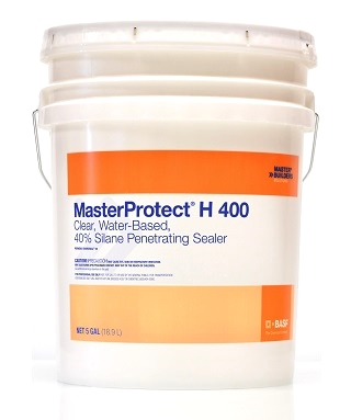 MasterProtect H 400 Concrete/Masonry Silane Sealer, 54G - MasterProtect H 400 (formerly Enviroseal® 40), clear, water-based, 40% silane  penetrating sealer / water repellant. For concrete and masonry. 54-Gallon Drum. Price/Drum. (leadtime 2-5 days; 5G shown in photo)