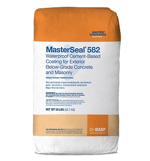 MasterSeal 582 Foundation Coat, Cementitious Waterproofing, 50 Lb - MasterSeal 582 Foundation Coating (formerly Thoroseal FC). Waterproof Portland-cement based waterproofing coating for exterior below-grade concrete & masonry. 50 Lbs/bag. Gray Color. Price/Bag.