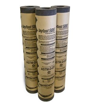 MB TU43 Layfast SBS Modified Asphalt Reinf. 40# Underlayment, 33 Rolls - MB Tech. TU43 Layfast SBS Mod. Asphalt Underlayment / Base Sheet with Fiberglass Mat. Use under Tile / Shingle Requiring 40# Underlayment. Mechanically Fastened. 3.31x64.75 ft Rolls (2-Sq). 33 rolls/Pallet. Price/Pallet. (see detail view order notes)