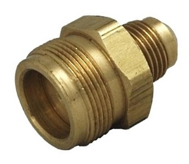 Disposable Propane Cylinder Adapter, 1-20  Male x 3/8 Male Flare, Valved - Propane Bottle Adaptor / Fitting, Male 1-inch-20 threaded x 3/8 Male Flare Fitting, with O-ring and Check Valve, All Brass. Fits Disposible Propane Bottles. Price/Each.
