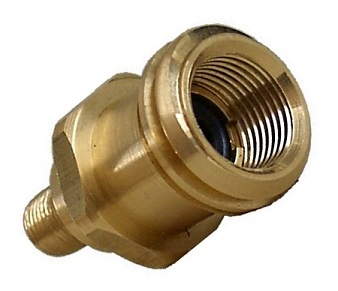 1-5/16 Male Acme Female POL x 1/4 MNPT, w/Quick Closing - Acme Propane Cylinder Adapter, 1-5/16 Male Acme Female POL X 1/4 MNPT, with Quick Closing Shutoff Poppet. Price/Each. (aka # FFM-399, shipping leadtime 1-2 business days)