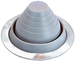 #3 Round Base GREY SILICONE Pipe Flashing - #3 Round Base GREY SILICONE Pipe Flashing. 7-3/4 OD Base x 3-7/8 High, Closed Top. Fits 1/4 to 5 inch O.D. Pipes. Price/Each.