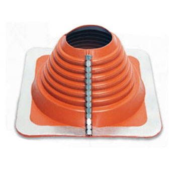 #6 Multi-Flash Retrofit Red Silicone Square-Base Flashing - #6 Multi-Flash, Retro-Style RED SILICONE, Square-Base Pipe Flashing Boot. 12x12 Inch Base x 4-1/2 High. Retro fits 4-3/4 to 10 inch OD Pipes, Standard Over-The-Top Fits 4-3/4 to 10 inch Pipes. Price/Each.