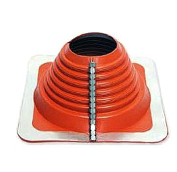 #4 Multi-Flash Retrofit Red Silicone Square-Base Flashing - #4 Multi-flash, Retrofit Style RED SILICONE, Square-based Pipe Flashing Boot. 10 X 10 Inch Base x 4 High, 2-3/4 Open Top. Retro-Mode Fits 2-1/4 to 6-1/2 Pipes; Standard Over-The-Top fits 2-3/4 to 7 Inch OD Pipe. Price/Each.