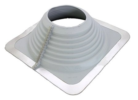 #8 Multi-Flash Retrofit Gray EPDM Square-Base Flashing - #8 Multi-Flash, Retro-Style GRAY EPDM, Square-Base Pipe Flashing Boot. 17 x 17 inch Base, 5-3/4 High. Retro fits 6-1/2 to 12 OD Pipes or Standard Over-the-Top fits 6-3/4 to 13-1/2 inch OD Pipes. Price/Each. (aka Aztec #MF801NG), (Actual color maybe darker