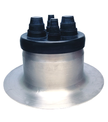 4-Pipe EPDM Flashing Boot w/ 14 in. Aluminum Base (SPECIFY BOOT) - UNIVERSAL COMMERCIAL 4-PIPE FLASHING. SPUN 14 INCH DIAMETER ALUMINUM BASE (8 -NCH ID), EPDM RUBBER CAP WITH4-FEEDTHROUGHS AND CLAMPS. FITS PIPE OPTIONS OF 1/4, 3/8, 1/2, 3/4, 1, 1-1/2 or 2 INCH. PRICE/EACH. (specify boot COLOR before adding to cart)