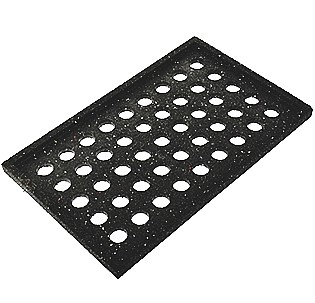 Miro 9 x 15-1/4 inch Rubber Support Pad - Miro 9 inch Wide x 15-1/4 inch Long Rubber Support Pad. Provides a 1/8 inch protective barrier between roof membrane and rooftop equipment. Features 100% recycled rubber and raised lip for slip resistance. Price/Each.