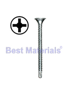 #6 X 1-5/8 Drywall-to-Steel TEK Screw, Bugle Head, Zinc, Collated, (1000)s