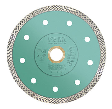 Pearl Abrasive Diamond DIA45TT P4 Thin Turbo Mesh Blade, 4-1/2 X 0.048 X 7/8, 20mm, 5/8. (1) - Pearl Abrasives Diamond DIA45TT Thin Turbo Mesh Blade. Used for Porcelain and Granite. 10mm Rim, 13300 RPM, Fast Cutting, Wet and Dry Cutting, Extra Long Life, 4-1/2 X 0.048 X 7/8, 20mm, 5/8. Price/Each. (Shipping lead time: 1-2 business days)
