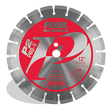Diamond Saw Blade, Segmented, 12 x .125 x 1, 20mm, 6300 RPM - Diamond Saw Blade, PEARL P2 PRO-V, Segmented, 12 inch diameter x .125 Thick. 1-20mm Arbor, 12 mm Rim, 6300 RPM. For Concrete and Masonry. Price/Each.