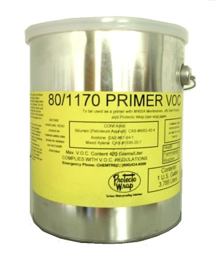Protecto Wrap #1170 / #80 Primer, 5G - Protecto Wrap #1170 / #80 Primer. An asphalt SBS Solvent Based Primer. For use in horizontal applications under several Protecto Wrap products. 5-Gallon Pail. Price/Pail. (shipping leadtime 2-3 business days; flammable item, UPS ground only)