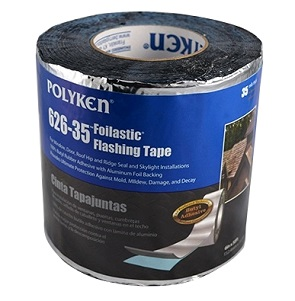 4 in. x 50 ft.  Aluminum Faced Butyl Flashing Tape (12 Rolls) - 4 in. X 50 FT. ROLLS, 35 MIL THICK ROOFING / FLASHING TAPE (FOILASTIC). HIGH-TEMP BUTYL RUBBER WATERPROOFING ADHESIVE WITH ALUMINUM FACE AND RELEASE SHEET BACKING. 12 ROLLS/CASE (600 FEET TOTAL). PRICE/CASE. (leadtime 3-10 days)