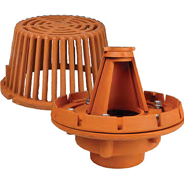 10 inch diameter ADJUSTABLE Weir Roof Drain, 3 inch No-Hub Outlet - Sun RD4313NH ADJUSTABLE Weir Roof Drain, 10 inch Diameter Cast Iron Body, Combo Membrane Clamp / Gravel Guard, 5-1/4 x 9-1/4 inch Cast Iron Dome, 77.2 sq.in. Drain Area. 3-inch No-Hub Outlet. Price/Each. (ship leadtime 1-3 business days)