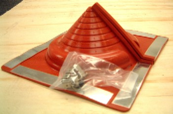 Retrofit Extra Small Rect Base Red Silicone Pipe Flashing