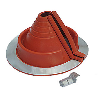 Retrofit Small Round Base Red Silicon Pipe Flashing, 3/4 to 2-3/4 - #1 Retrofit Small Size Red Silicone High Temp Roof Pipe Flashing. Fits 3/4 to 2-3/4 inch round pipes, on up to 10/12 pitch. 6.3 inch diamater round base, with stainless steel closing clamps. Price/Each. (aka DEKS RF901RE)