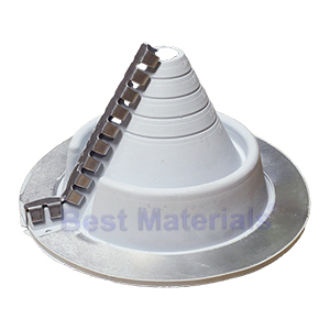 #2 Retrofit Master Flash *Gray* EPDM Round-Base Flashing - #2 Retrofit Master Flash **GRAY** Color EPDM Flashing, 10-3/4 Inch OD Round Base. Fits 2 to 7-1/4 Round Pipes. Price/Each. (Aztec RF201GS-RD; Order in full boxes of 5 for added discounts).