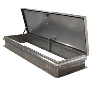 30 x 54 Roof Access Hatch, GRAY Powder Coat Galv Steel - Roof access hatch, 30 x 54 inch opening, grey hammertone color powder coated 14 gauge galvanized steel, self flashing base. Hinge is on 54 inch side. Price/each. (THIS ITEM IS NOW REPLACED BY THE WHITE COLOR VERSION # JL-RHDG-2WT)