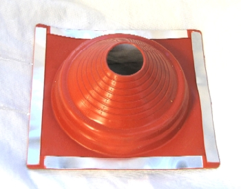#4RT Red Silicone Rectangular-Base Pipe Flashing - #4RT RED SILICONE RETANGULAR-BASE PIPE FLASHING. 15x16.5 Inch BASE, OPEN TOP. FITS 5-7/8 Inch TO 12-1/2 Inch PIPES. PRICE/EACH.