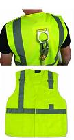 Safety Vest, Reflective, ANSI Class 2, Lime, D-Ring, Pockets, case/10