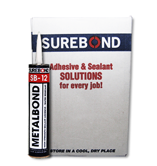 SB-12 MetalBond Adhesive Sealant, High-Strength, Gray (Case/12) - SB-12 MetalBond Adhesive Sealant. Very high-strength, quick-curing, multi-purpose sealant. Aluminum-Gray Color. For steel, aluminum, painted materials, galvanized metal. Pick/Tamper resistant. 10.2 Oz Tubes. 12/Case. Price/Case. (flammable, UPS ground)