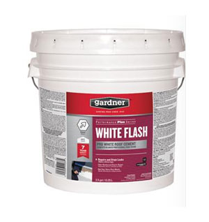 Gardner White Acrylic Roof Cement, White Flash, 3.5 Gallon - Gardner White Flash White Acrylic Roof Cement. Heavy Duty, Highly Flexible Roof Patching Repair. Ideal to Repair Cracks and Holes on a Variety of Roof Surfaces. 30 lb Unit Weight. 3.5 Gallon Pail. Price/Pail. (Shipping Leadtime 1-3 business days)