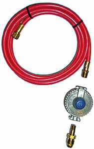 Propane Tank Hook-Up Kit, Low Pressure, POL - Propane Tank Hook-Up Kit. 10 foot hose, low pressure (11 in. WC, 1/2 PSI) regulator, POL fitting input, 3/8 in. flare swivel and end outlet. Price/Kit.
