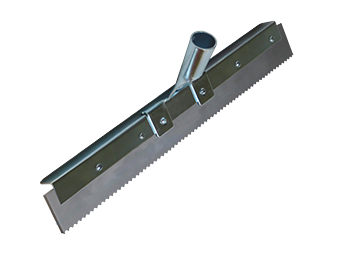 Squeegee 18 in. x 1/2 in. V Serrated Gray EPDM in Steel Frame (box/6) - 18 inch Long x 1/2 inch Serrated (V-notched) Gray EPDM Rubber Sgueegee. Replaceable Straight Blade Set in Heavy Duty Steel Frame. 6/Box. Price/Box. (special order item; shipping leadtime 2-3 days)