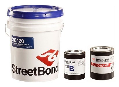 Siplast StreetBond SB-120 4G KIT, Pavement Coating, 3-Part, SPECIFY COLOR - Siplast StreetBond SB-120 Complete Pavement Coating Kit, for Concrete/Asphalt, Textured. 4-gallon kit includes Part-A 3.75G, Part-B 10 oz, Part-C Colorant 1-pint. Price/Kit. (specify COLOR before adding to cart; FREE shipping - see detail view notes)