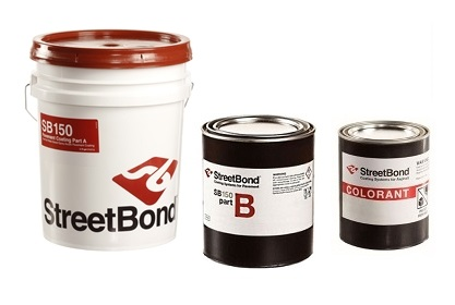 StreetBond SB-150 4G KIT, Pavement Coating, 3-Part, SPECIFY COLOR - StreetBond SB-150 Complete Pavement Coating Kit, for Concrete/Asphalt, Textured. 4-gallon kit includes Part-A 3.75G, Part-B 1 Quart, Part-C Colorant 1-pint. Price/Kit. (see special ordering notes in detail view)