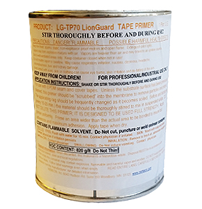 Seam Tape Primer LG-TP70 (1-Gallon) - Seam Tape Primer, LionGUARD LG-TP70. For use with EPDM or TPO Seam Tapes, (use tolulene Seam Cleaner first). Made in USA. 1-Gallon Can. Price/Can. (flammable item; UPS Ground or Truck Shipment Only; Cannot ship to VOC restricted areas)