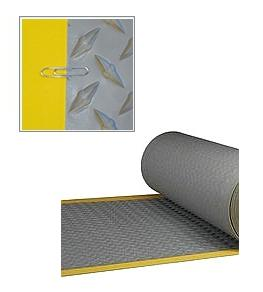 TPO Walkway Pad, GRAY w/Yellow Border, Diamond, 34 in. x 50 ft. Roll - TPO Roof Walkway Pad / Protection Pad,