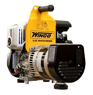 Winco W3000H 2400 Watt Generator, Gasoline Powered - Winco W3000H Generator. Compact and portable 68-Lb, 5-hp Honda gasoline powered. 21.4 x 14.5 x 16. 5 inches. 3000 Watt Peak/Surge 2400W continuous power; 20 Amps @ 120 VAC, GFCI protected. Commercial Winco Generator. Price/Each.