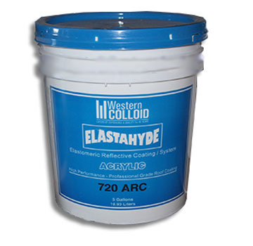 Elastahyde 720 Elastomeric Acrylic Roof Coating, SPECIFY COLOR, 5G - WESTERN COLLOID #720 ARC, ELASTAHYDE ELASTOMERIC REFLECTIVE ACRYIC ROOF COATING, 66% SOLIDS, ENERGY STAR / TITLE 24 RATED. 5-GALLON PAIL. PRICE/PAIL. (Specify COLOR before adding to cart; shipping leadtime 2-4 business days)