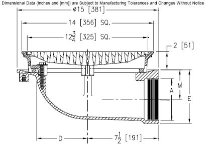 Zurn Z150 14 In Prom Deck Drain Kit 90 Deg X 6 In