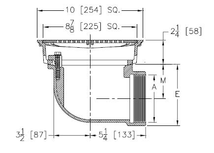 Zurn Z158 10 in  Prom-Deck Drain Kit 90 degree outlet 4 in IPS