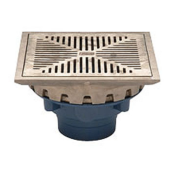 Zurn ZN158 10 inch Prom-Deck Drain Kit, (Specify OUTLET) - ZURN ZN158-C Series, 10 in. Square, Flat Promenade Deck Drain Kit. Dura-coated Cast Iron, Rotating Frame, Heel-proof Grate, Underdeck clamp, Frame Clamps, ZN polished Nickel-Bronze grate. Price/Each. (see ordering notes in detail view)