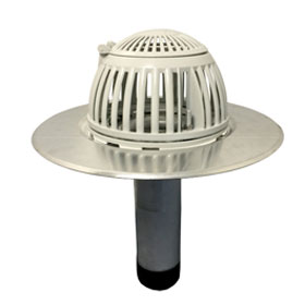 1-3/4 inch Aluminum Retrofit Drain, Flip Top Dome, for Flat Deck - 1-3/4 inch Aluminum Retrofit Roof Drain with Furnco Coupling for Flat Deck. Cast Heavy Duty Aluminum Dome, with Flip-Top Service, Vandal Resistant. Downspout fits a 1-3/4 nominal size pipe. Price/Each. (ship leadtime 5-7 business days)