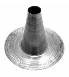4 inch Hot Pipe Aluminum Flashing Cone, 12.4 Tall x 18.35 OD Base - 4 inch Hot Pipe Aluminum Cone Flashing. Fits 4-inch pipes. 12.4 inches tall with 18.35 inch OD Aluminum Base. Tall Aluminum Cones are Approved for Venting Gas, Type 2 Oil, Wood Burning Stoves, and Appliances. Price/Each. (ship leadtime 2-4 business days)