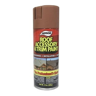 Roof Accessory Spray Paint, TERRA COTTA Color - Roof Accessory and Trim Spray Paint, TERRA COTTA Color, Aervoe # 1613, 12 ounce Net Weight. Rust resistant, durable UV grade exterior paint survives harsh environments. Dries Flat. Price/Can. (ORMD, UPS Ground ship only)
